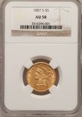 Liberty Half Eagles: , 1887-S $5 AU58 NGC. NGC Census: (195/2649). PCGS Population(182/1378). Mintage: 1,912,000. Numismedia Wsl. Price for probl...