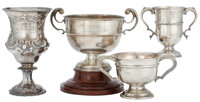 MALCOLM S. FORBES COLLECTION: FOUR ENGLISH SILVER TROPHY CUPS DATED FROM 1855 TO 1930 10 inches high (25.4 cm) (