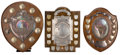 Decorative Arts, British:Other , MALCOLM S. FORBES COLLECTION: THREE BRITISH TROPHY SHIELDS DATEDFROM 1926 TO 1949 . 15 inches average height (38.1 cm). ... (Total:3 Items)