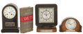 Decorative Arts, British:Other , MALCOLM S. FORBES COLLECTION: THREE COMMEMORATIVE MANTLE CLOCKS ANDA COMPANION VOLUME DATED 1919 TO 1946. 10 inches high (...