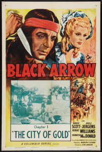 """Black Arrow (Columbia, R-1955). One Sheet (27"""" X 41"""") Chapter 1 -- """"The City of Gold."""" Serial"""