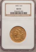 Liberty Eagles: , 1855 $10 AU53 NGC. NGC Census: (51/314). PCGS Population (19/70).Mintage: 121,701. Numismedia Wsl. Price for problem free ...