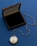 Timepieces:Pocket (post 1900), Hamilton 14k Gold Grade 916 With Original Box With a Gold FilledChain. ...