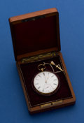 Timepieces:Pocket (pre 1900) , Tobias 47 mm 18k Gold Key Wind Pocket Watch With Wood Box. ...
