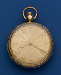 Timepieces:Pocket (post 1900), Swiss 19 Jewel 47 mm 18k Gold Pocket Watch With Fancy Dial. ...