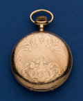 Timepieces:Pocket (post 1900), Waltham 14k Gold 12 Size 19 Jewel Riverside Pocket Watch. ...