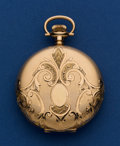 Timepieces:Pocket (post 1900), Waltham Fancy 14k Gold 16 Size Hunter's Case Pocket Watch. ...