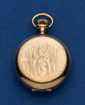 Timepieces:Pocket (post 1900), Longines Private Label 14k Gold 0 Size Pocket Watch. ...