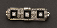 Exquisite Art Deco Diamond & Onyx Pin