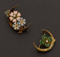 Estate Jewelry:Brooches - Pins, Two Gold, Enamel & Diamond Pins. ... (Total: 2 Items)