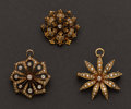 Estate Jewelry:Brooches - Pins, Three Gold, Enamel, Pearl & Diamond Pins. ... (Total: 3 Items)