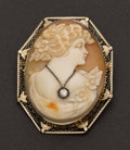 Estate Jewelry:Cameos, Gold Shell Cameo With Diamond. ...