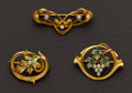 Estate Jewelry:Brooches - Pins, Three Art Nouveau Gold Pins. ... (Total: 3 Items)