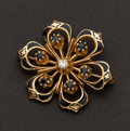 Estate Jewelry:Brooches - Pins, Gold Enamel, Sapphire & Diamond Pin. ...