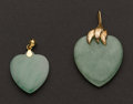 Estate Jewelry:Brooches - Pins, Two Jade & Gold Hearts. ... (Total: 2 Items)