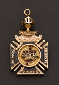 Estate Jewelry:Other , Gold, Onyx & Enamel Masonic Fob. ...