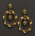 Estate Jewelry:Earrings, Antique Gold & Turquoise Earrings. ...