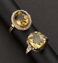 Estate Jewelry:Rings, Two Gold Antique Citrine Rings. ... (Total: 2 Items)