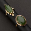 Estate Jewelry:Rings, Two Jade & Gold Rings. ... (Total: 2 Items)