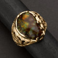 Estate Jewelry:Rings, Gent's Fire Agate & Gold Ring. ...