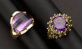 Estate Jewelry:Rings, Two Amethyst Rings. ... (Total: 2 Items)