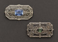 Estate Jewelry:Brooches - Pins, Two White Gold Pins. ... (Total: 2 Items)