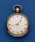 Timepieces:Pocket (pre 1900) , Swiss 40 mm Silver & Rose Gold Verge Fusee Pocket Watch. ...