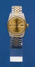 Timepieces:Wristwatch, Rolex Reference 1601 Gents Two-Tone Datejust Wristwatch. ...