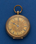 Timepieces:Pocket (post 1900), Swiss 14k Gold 37 mm Fancy Dial Pocket Watch. ...