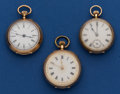 Timepieces:Pocket (post 1900), Three Swiss Ladies 14k gold Pocket Watches. ... (Total: 3 Items)