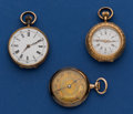 Timepieces:Pendant , Three - Swiss 14k Gold Pendant Watches. ... (Total: 3 Items)