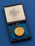 Timepieces:Pocket (pre 1900) , E. Ashley 18k Gold Lever Fusee With Original Box. ...
