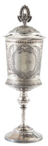 Silver Holloware, British:Holloware, MALCOLM S. FORBES COLLECTION: CANADIAN SILVER PLATED LACROSSETROPHY CUP AND COVER PRESENTED IN BRANTFORD, ONTARIO IN 1881...