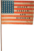Political:Textile Display (pre-1896), Ulysses S. Grant: Large Parade Flag on Stick....