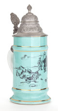 Ceramics & Porcelain, British:Modern  (1900 1949)  , A PORCELAIN GOLF THEME STEIN WITH PEWTER LID . Probably English,circa 1930. 9-1/4 inches high (23.5 cm). ...