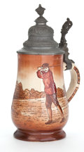 Ceramics & Porcelain, British:Modern  (1900 1949)  , A GOLF THEMED STONEWARE STEIN WITH PEWTER LID . Maker unknown,probably English, circa 1900. Marks: 5043, 14. 8-3/4 inch...