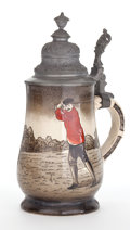 Ceramics & Porcelain, British:Modern  (1900 1949)  , A GOLF THEMED STONEWARE STEIN WITH PEWTER LID . Maker unidentified,probably English, circa 19005048, R. Marks: 5343, R...