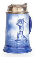 Ceramics & Porcelain, British:Modern  (1900 1949)  , GOLF THEMED EARTHENWARE STEIN WITH METAL LID . Maker unidentified,probably English, circa 1910. Marks: A (within wreath...