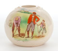 Decorative Arts, British:Other , AN ENGLISH FAIENCE MATCH HOLDER WITH TRANSFER PRINTED GOLF SCENE .MAKER, Wileman and Company, Fenton, Staffordshire, Englis...
