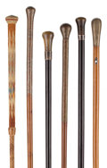 "Decorative Arts, Continental:Other , GROUP OF SIX GENTLEMAN'S ""WALKING STICK"" CANES . 37 inches overalllength of longest cane (94.0 cm). ... (Total: 6 Items)"