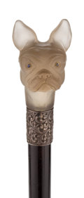 Decorative Arts, British:Other , ENGLISH SMOKEY QUARTZ FRENCH BULLDOG CANE, CIRCA 1891 . Marks:London. 38 inches overall length of cane (96.5 cm). ...