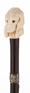 Decorative Arts, Continental:Other , CARVED IVORY BASSET CANE . 36-1/4 inches overall length (92.1 cm)....