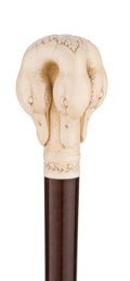 Decorative Arts, Continental:Other , CARVED IVORY DUCK CANE. 37-3/4 inches over all length (95.9 cm)....