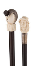Decorative Arts, Continental:Other , TWO IVORY FIGURAL CANES . 36 inches overall length of penguin cane(91.4 cm). 35 inches overall length of girl's portrait ca...(Total: 2 Items)