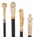 Decorative Arts, Continental:Other , COLLECTION OF FOUR CARVED IVORY FIGURAL CANES. 36-3/8 inchesoverall length of longest cane, octopus and troll (92.4 cm). ...