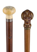 Decorative Arts, Continental:Other , TWO GENTLEMAN'S CANES. 35-7/8 inches overall length of ivory knobcane (91.1 cm). ...
