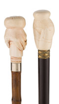 Decorative Arts, Continental:Other , TWO FIGURAL IVORY CANES . 36 inches overall length of female formcane (91.4 cm). 35-3/4 inches overall length of man's hand...(Total: 2 Items)