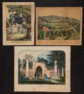 Antiques:Posters & Prints, George Washington: Tomb and Mt. Vernon Hand-Colored Lithographs....(Total: 3 Items)