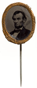 Political:Ferrotypes / Photo Badges (pre-1896), Abraham Lincoln: Ferrotype Stickpin....