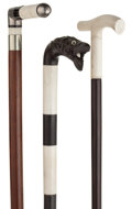 Decorative Arts, Continental:Other , GROUP OF THREE IVORY, METAL AND HORN CANES . 35-7/8 inches overalllength of Ivory, horn and metal cane (91.1 cm). 35-1/2 in...(Total: 3 Items)